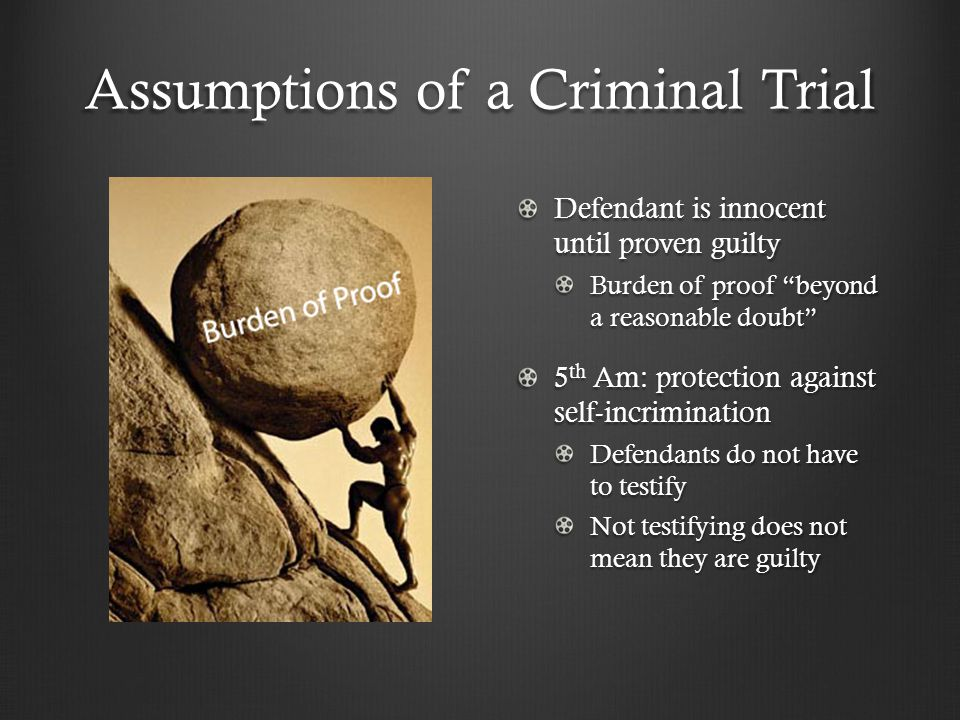 Assumptions of a Criminal Trial Defendant is innocent until proven guilty Burden of proof beyond a reasonable doubt 5 th Am: protection against self-incrimination Defendants do not have to testify Not testifying does not mean they are guilty