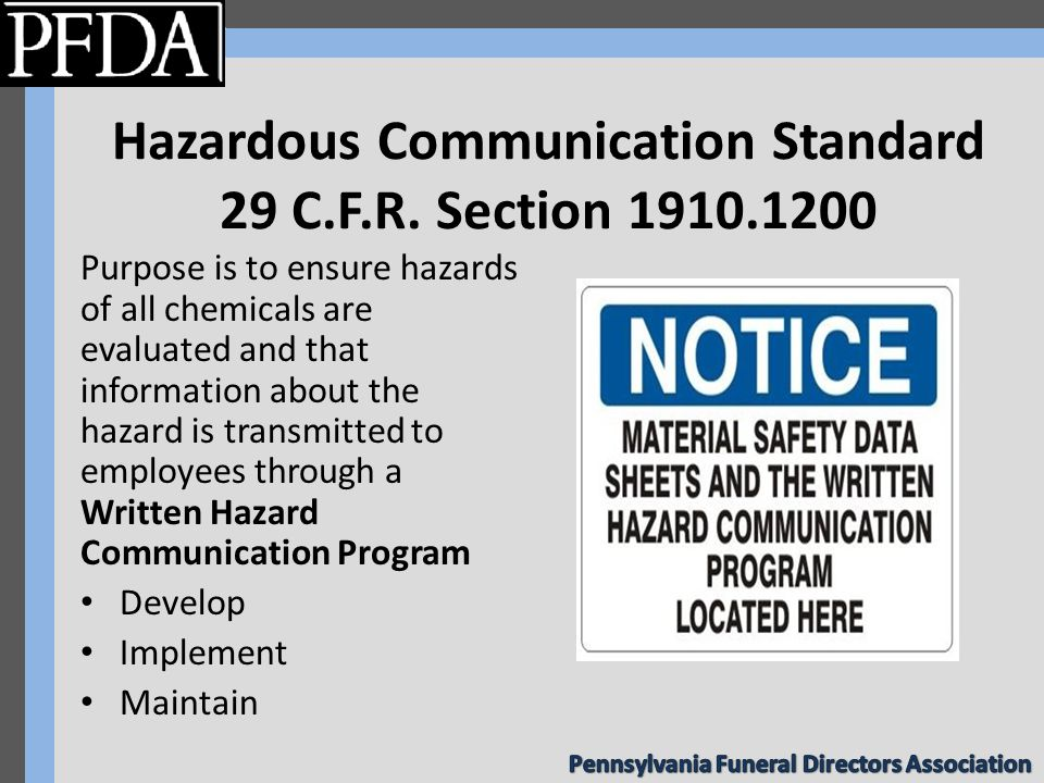 Hazardous Communication Standard 29 C.F.R.