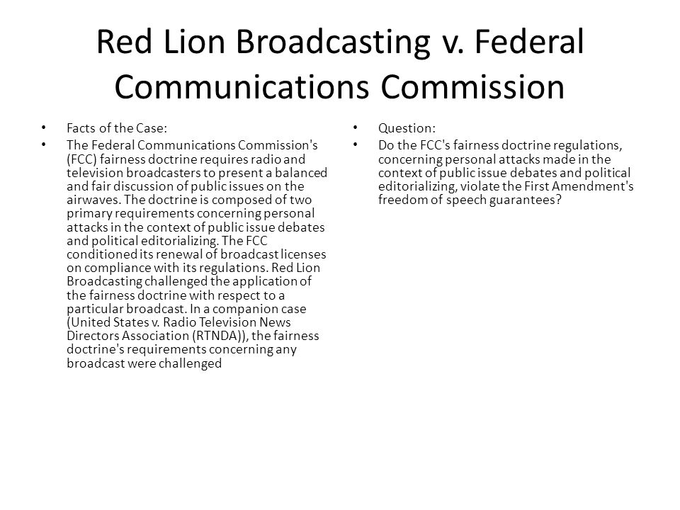Red Lion Broadcasting v.