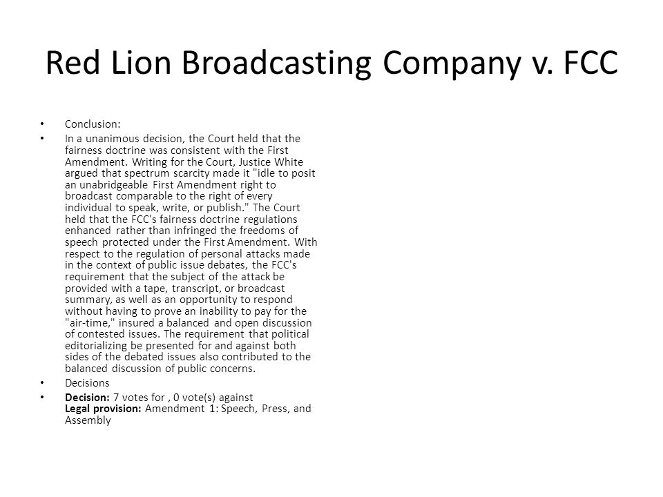 Red Lion Broadcasting Company v.