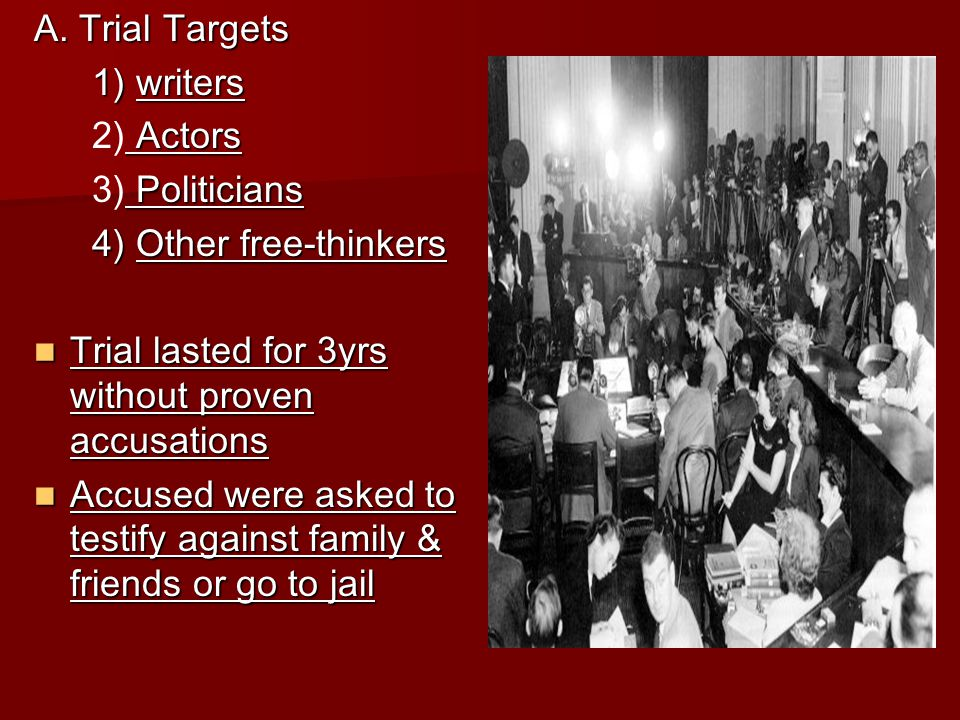 A. Trial Targets 1) writers 1) writers Actors 2) Actors Politicians 3) Politicians 4) Other free-thinkers 4) Other free-thinkers Trial lasted for 3yrs