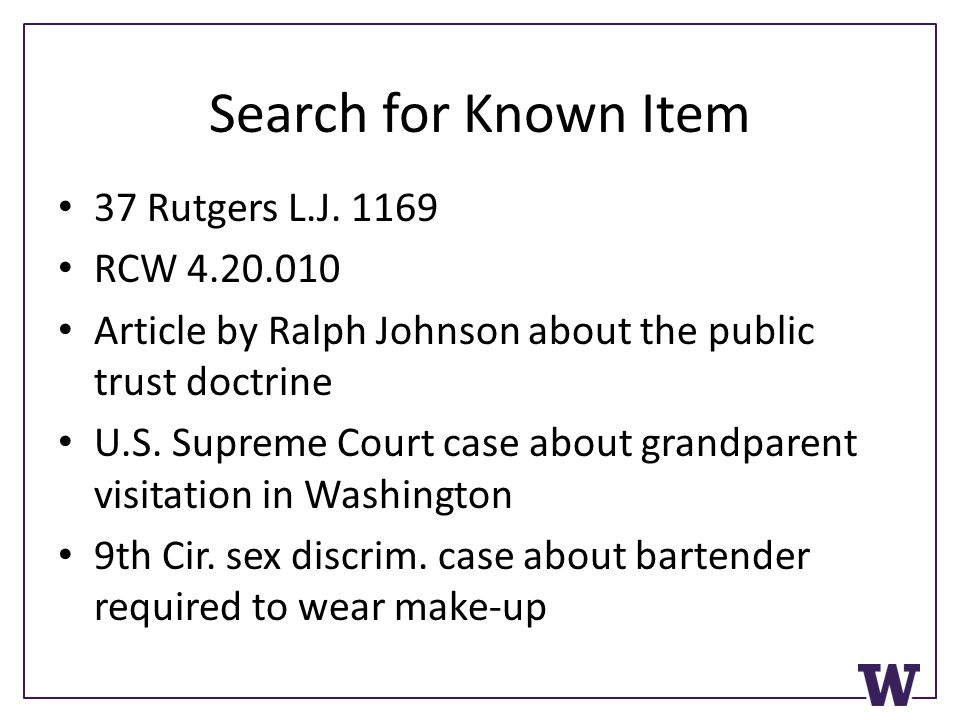 Search for Known Item 37 Rutgers L.J.