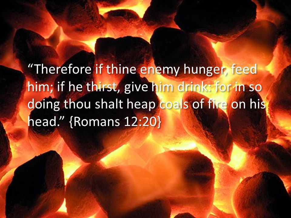 """Therefore if thine enemy hunger, feed him; if he thirst, give him drink: for in so doing thou shalt heap coals of fire on his head."" {Romans 12:20}"
