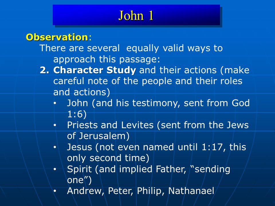 John 1 Hermeneutical (Text-Driven) Question Hermeneutical (Text-Driven) Question: What is the meaning of each character.