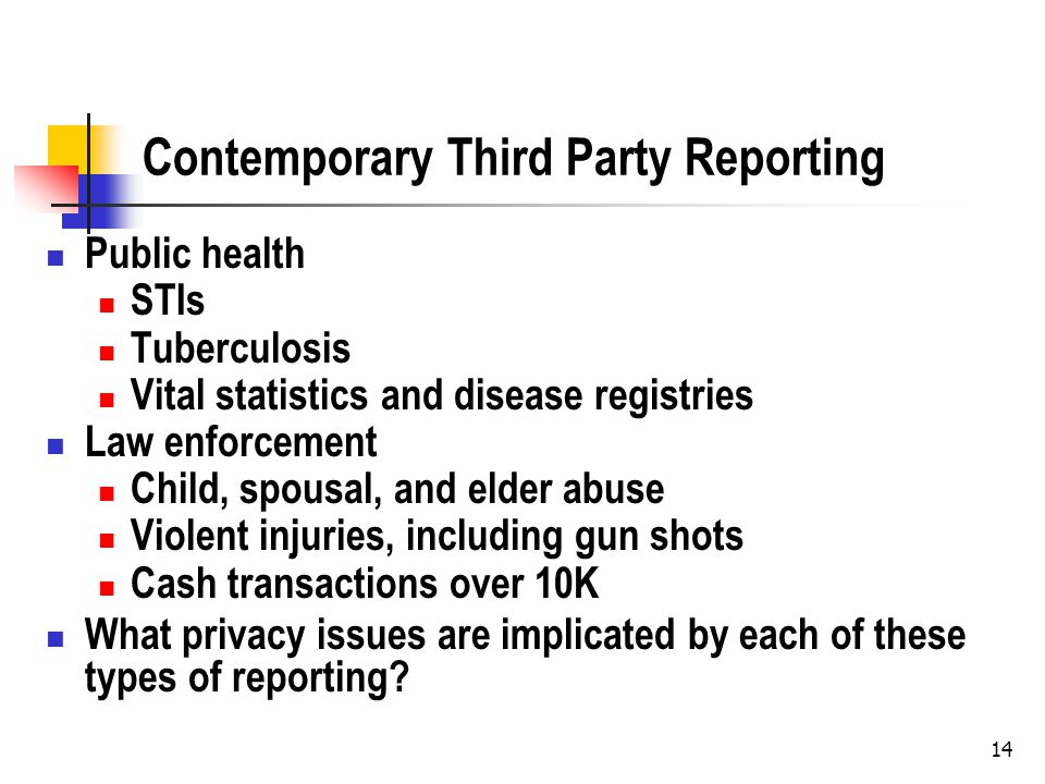 14 Contemporary Third Party Reporting Public health STIs Tuberculosis Vital statistics and disease registries Law enforcement Child, spousal, and elder abuse Violent injuries, including gun shots Cash transactions over 10K What privacy issues are implicated by each of these types of reporting?