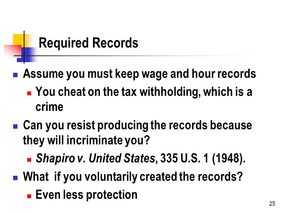 25 Required Records Assume you must keep wage and hour records You cheat on the tax withholding, which is a crime Can you resist producing the records because they will incriminate you.