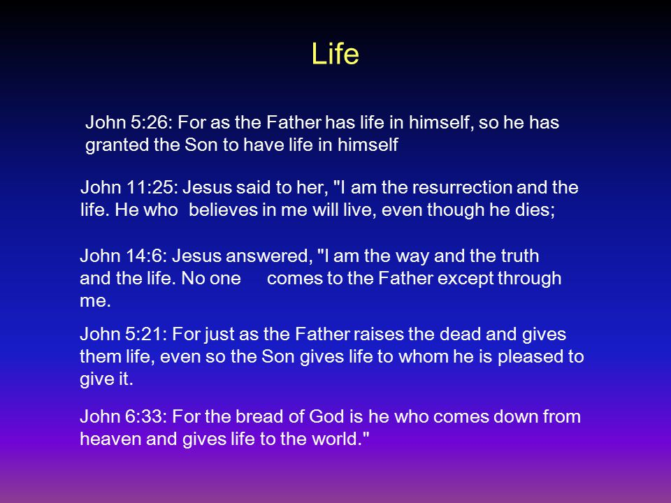 Life John 11:25: Jesus said to her, I am the resurrection and the life.