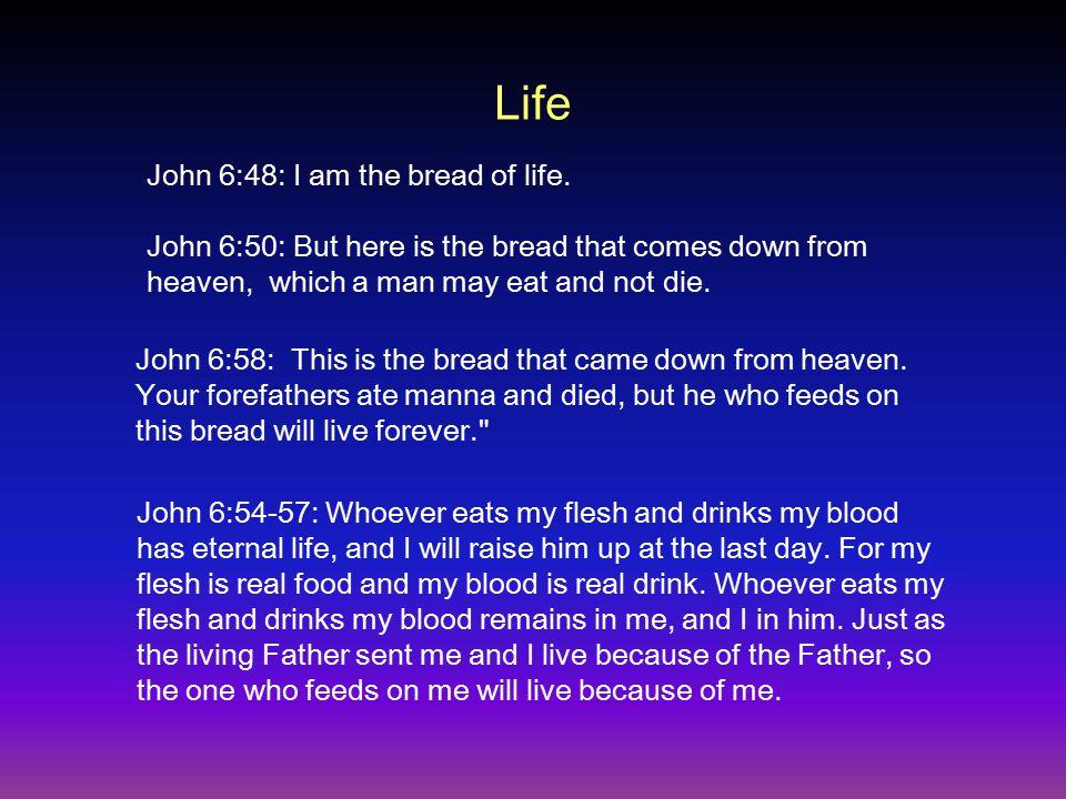 Life John 6:48: I am the bread of life.