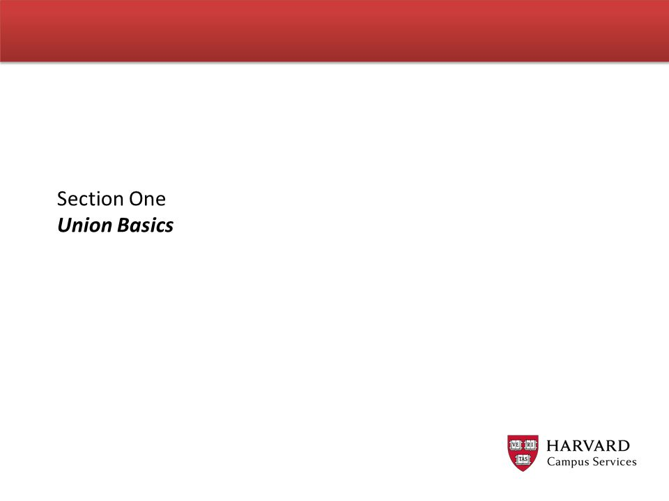 Learning Objectives By the end of this session, you will… Understand common Union terminology.
