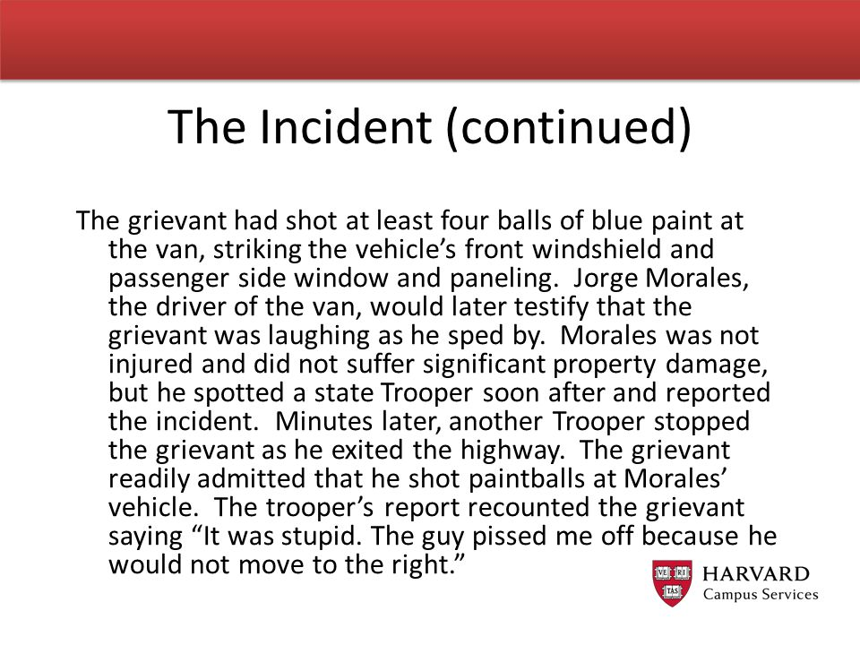The grievant had shot at least four balls of blue paint at the van, striking the vehicle's front windshield and passenger side window and paneling. Jo