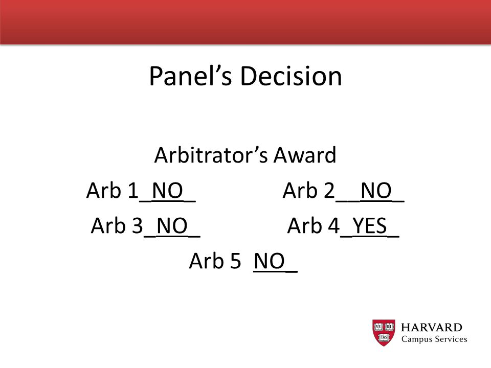 Panel's Decision Arbitrator's Award Arb 1_NO_Arb 2__NO_ Arb 3_NO_Arb 4_YES_ Arb 5 NO_