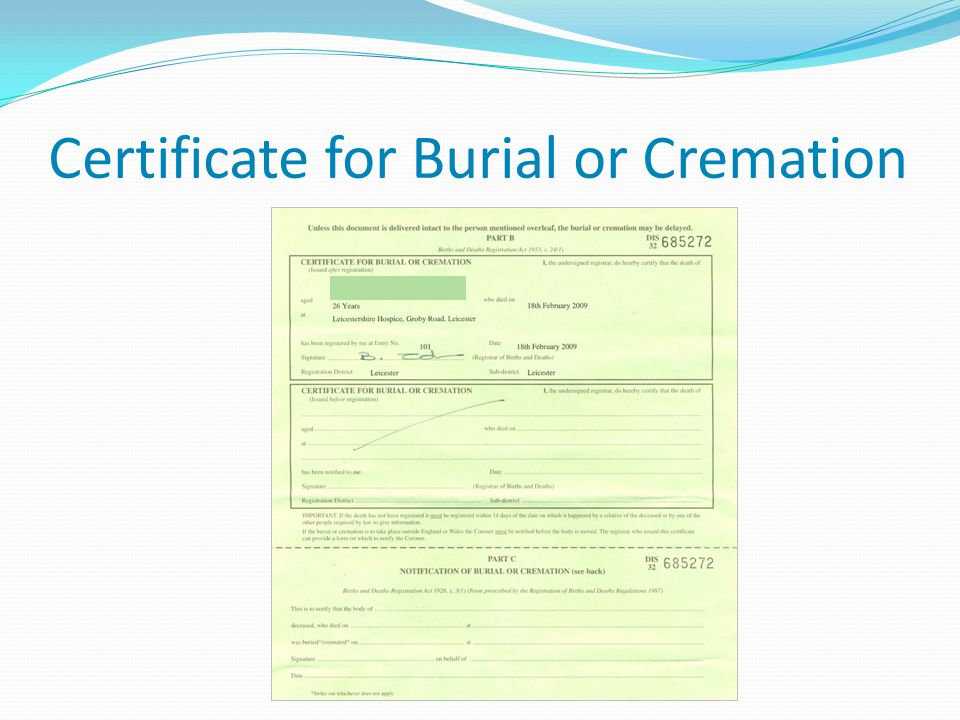 Certificate for Burial or Cremation