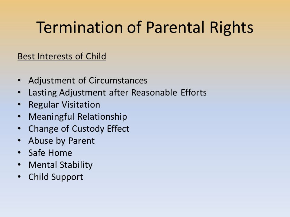 Termination of Parental Rights Best Interests of Child Adjustment of Circumstances Lasting Adjustment after Reasonable Efforts Regular Visitation Meaningful Relationship Change of Custody Effect Abuse by Parent Safe Home Mental Stability Child Support