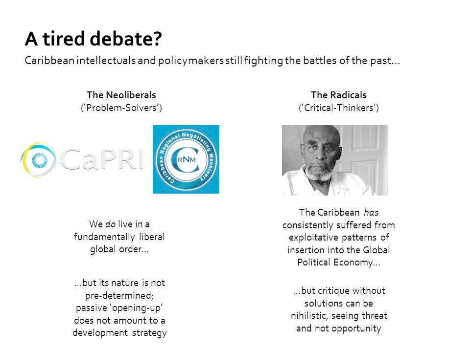 Introduction Caribbean intellectuals and policymakers still fighting the battles of the past… A tired debate? We do live in a fundamentally liberal gl