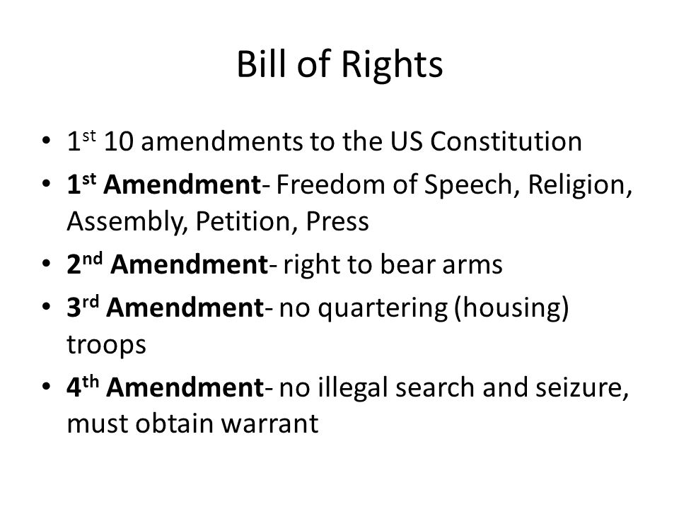 5th Amendment-due process of law: indictment (officially charged with a crime); no double jeopardy (cannot be tried for the same crime twice); cannot be forced to testify when testimony incriminates ones' self- I plead the 5 th 6 th Amendment- trial by jury- criminal case; right to a speedy, public trial 7 th Amendment- trial by jury- civil case (involving money rather than jail) 8 th Amendment- no cruel of unusual punishment 9 th Amendment- people have other rights not listed in the Constitution 10 th Amendment- states have other rights not listed in the Constitution; prevented the government from encroaching on rights of states