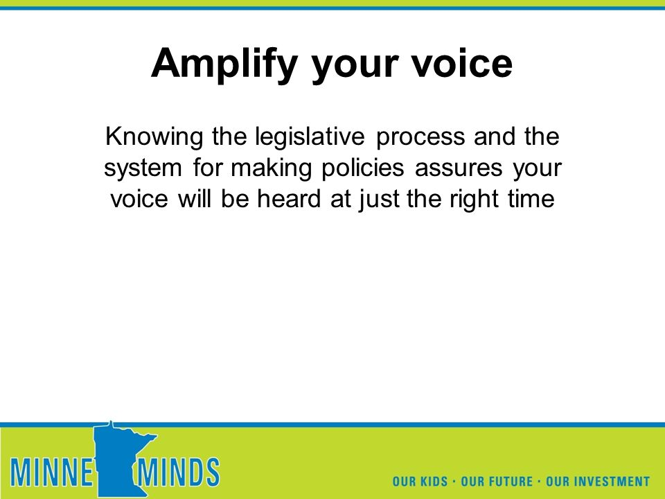 Amplify your voice Knowing the legislative process and the system for making policies assures your voice will be heard at just the right time