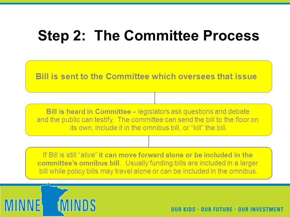 Step 2: The Committee Process Bill is sent to the Committee which oversees that issue Bill is heard in Committee – legislators ask questions and debate and the public can testify.