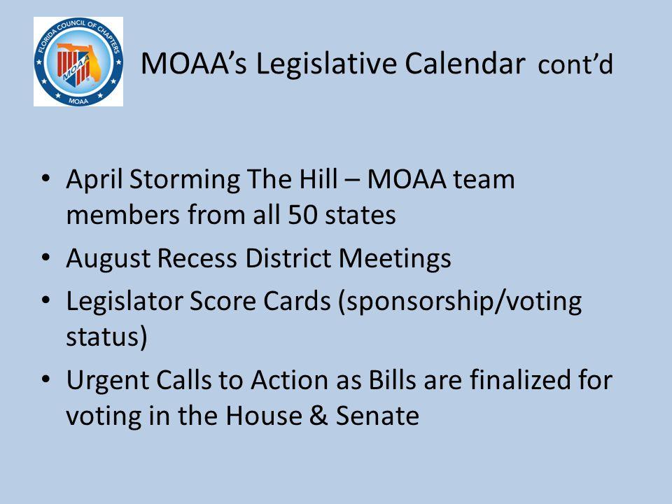 M MOAA's Legislative Calendar cont'd April Storming The Hill – MOAA team members from all 50 states August Recess District Meetings Legislator Score C