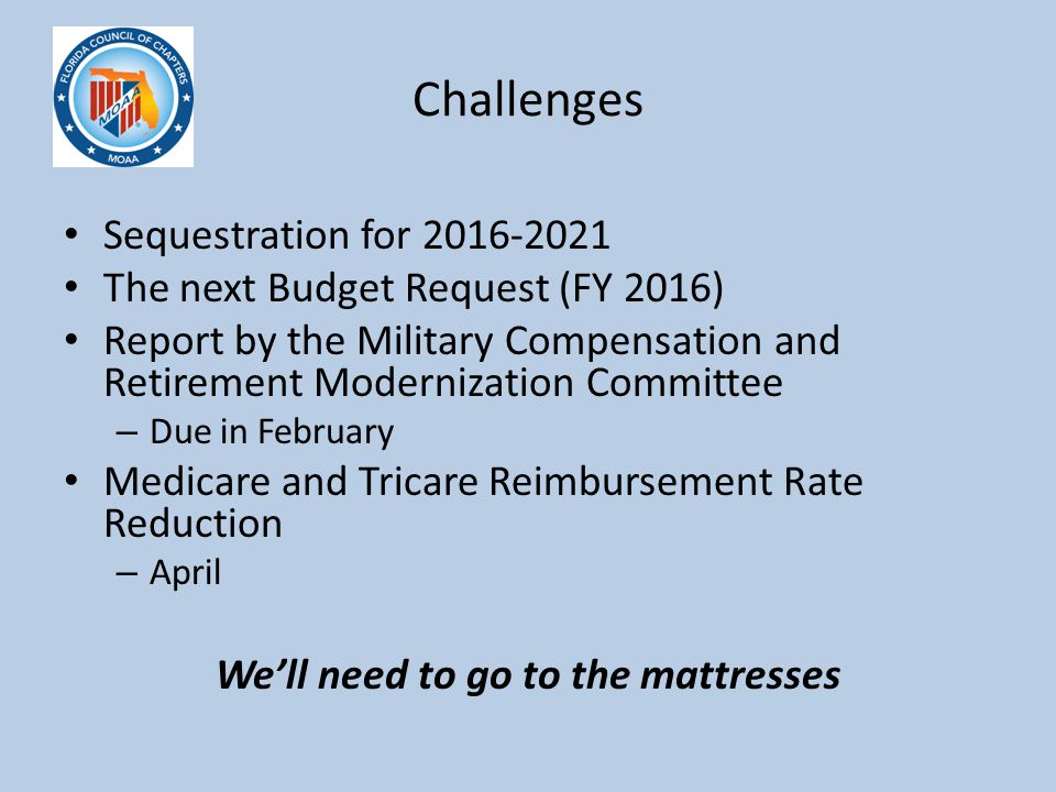 Challenges Sequestration for 2016-2021 The next Budget Request (FY 2016) Report by the Military Compensation and Retirement Modernization Committee –