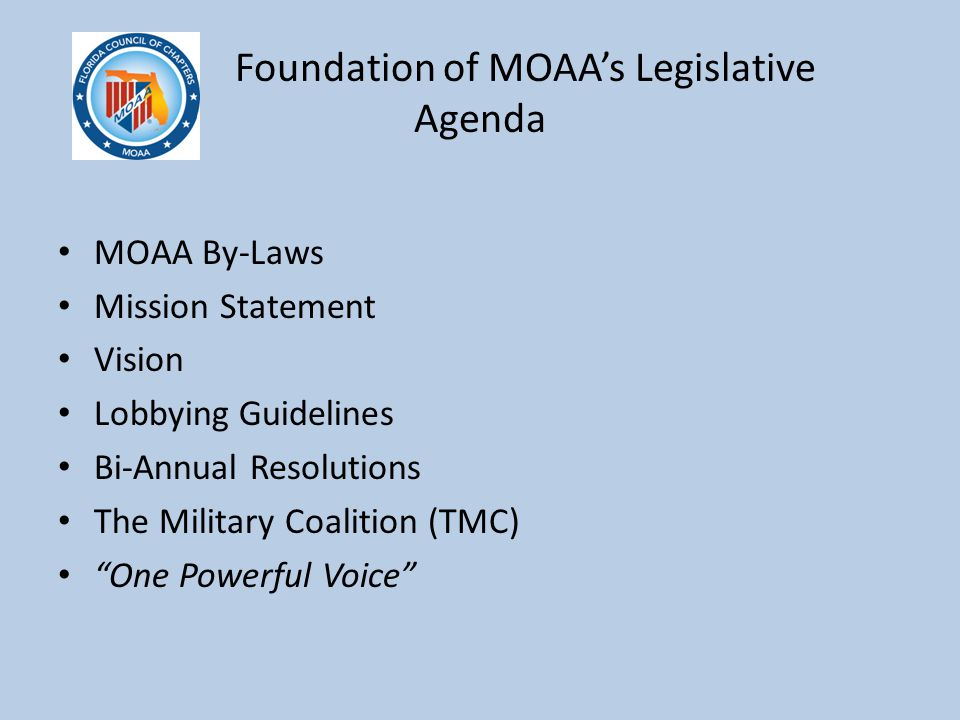 Foundation of MOAA's Legislative Agenda MOAA By-Laws Mission Statement Vision Lobbying Guidelines Bi-Annual Resolutions The Military Coalition (TMC) One Powerful Voice