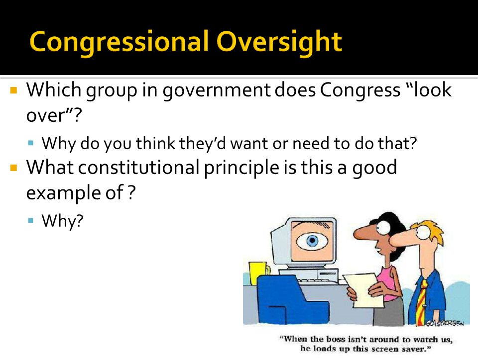  Which group in government does Congress look over .