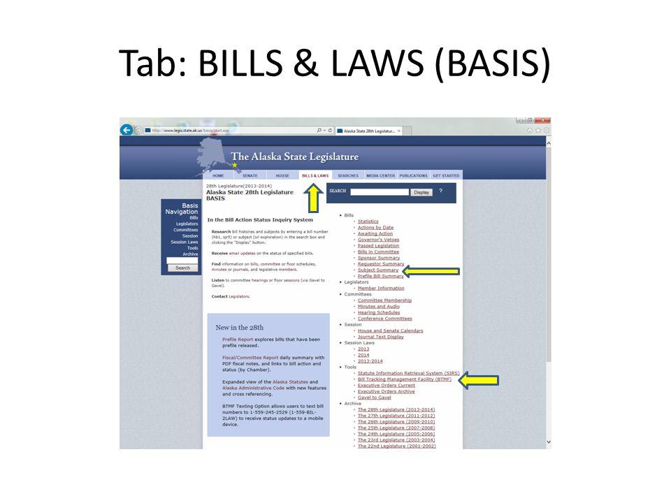 Tab: BILLS & LAWS (BASIS)