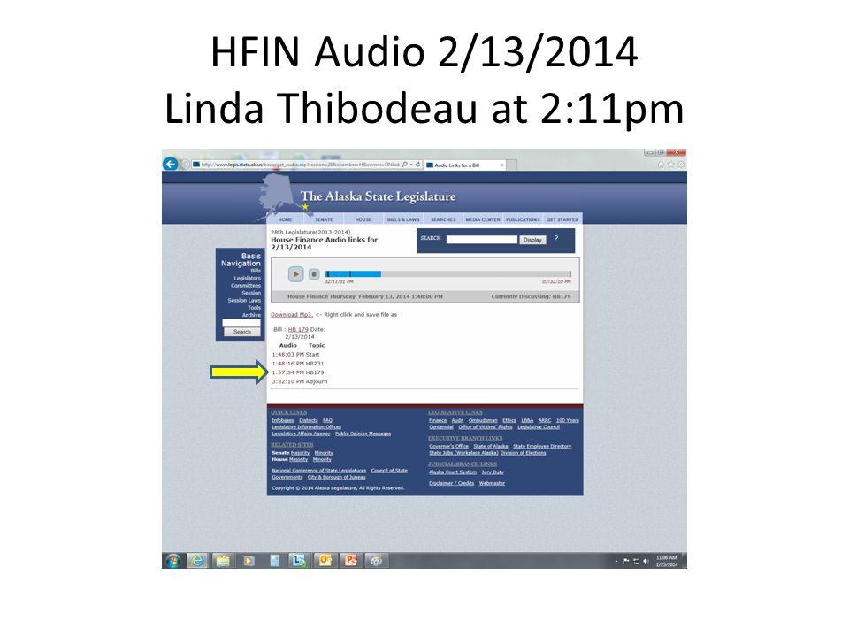 HFIN Audio 2/13/2014 Linda Thibodeau at 2:11pm
