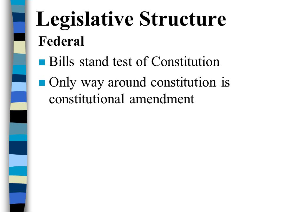 Legislative Structure Federal Bills stand test of Constitution Only way around constitution is constitutional amendment