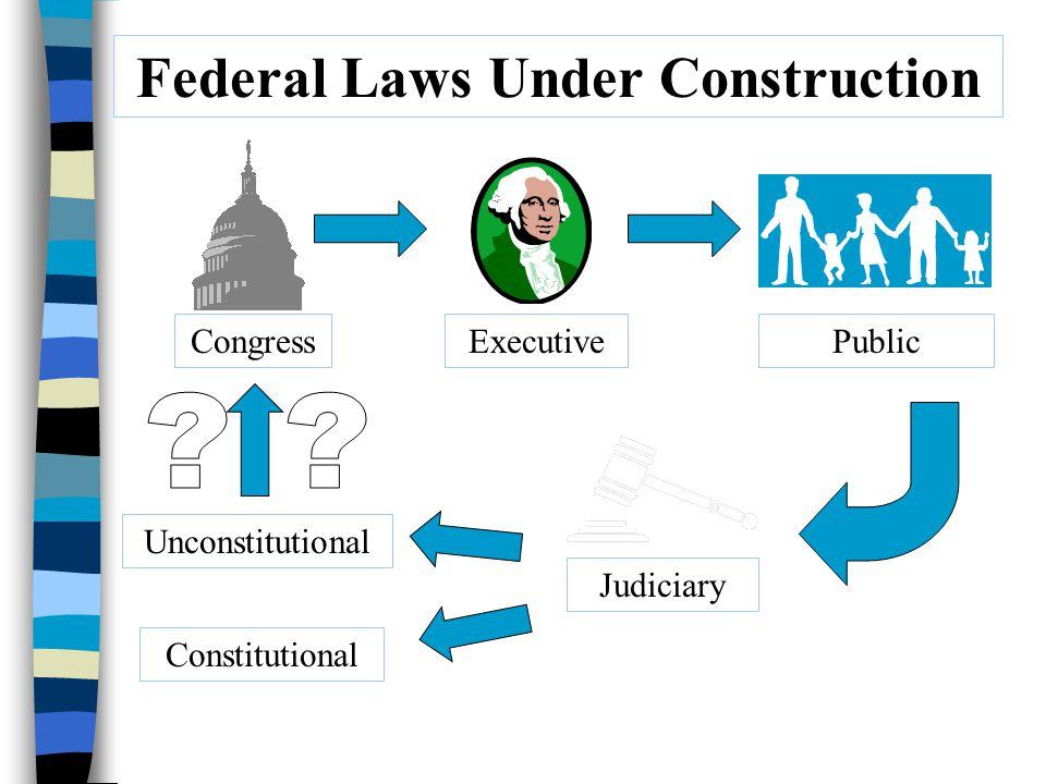 Federal Laws Under Construction CongressExecutivePublic Judiciary Constitutional Unconstitutional