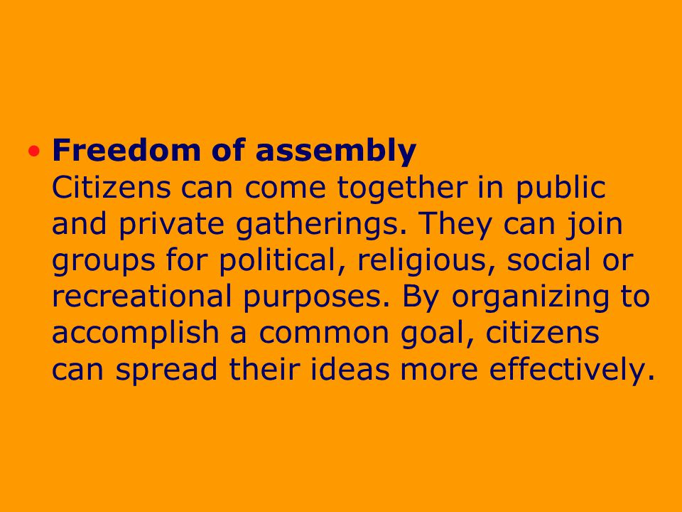 Congress shall make no law … abridging …the right of people peaceably to assemble.
