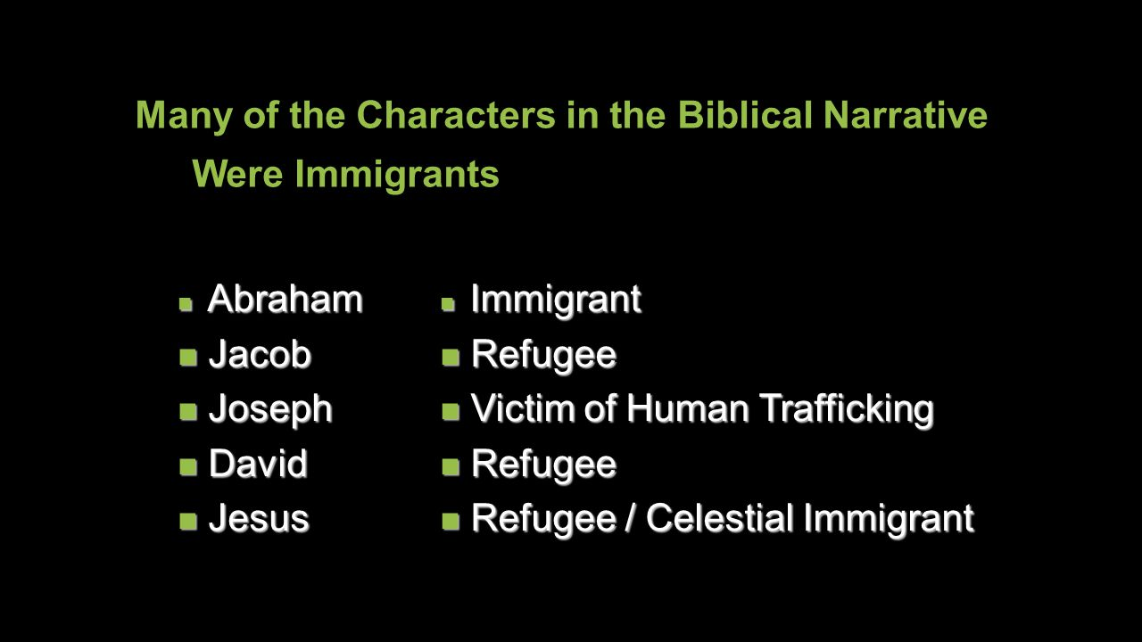 A Biblical Issue Many of the Characters in the Biblical Narrative Were Immigrants Abraham Abraham Jacob Jacob Joseph Joseph David David Jesus Jesus Im