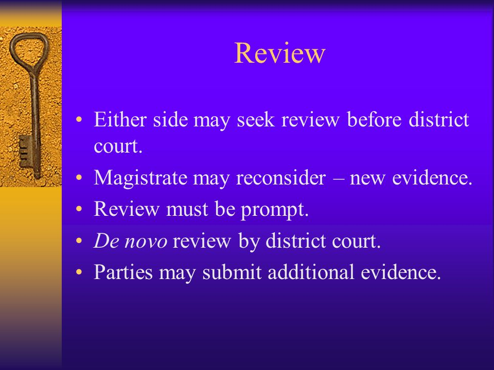 Review Either side may seek review before district court.