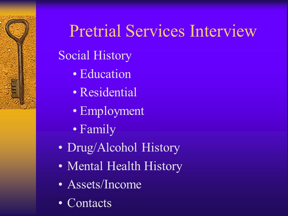 Pretrial Services Interview Social History Education Residential Employment Family Drug/Alcohol History Mental Health History Assets/Income Contacts