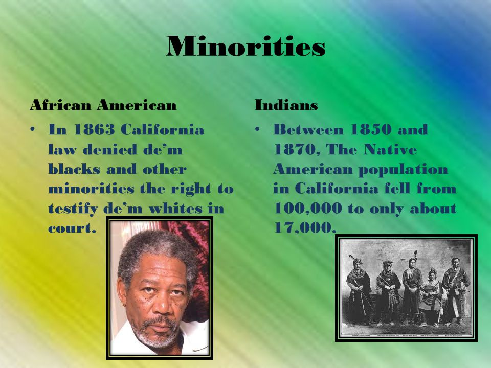 Minorities African American In 1863 California law denied de'm blacks and other minorities the right to testify de'm whites in court.