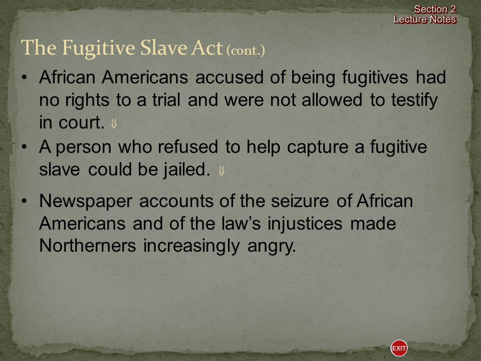 The Fugitive Slave Act The Fugitive Slave Act hurt the Southern cause because it created hostility toward slavery among Northerners who had previously been indifferent toward it.