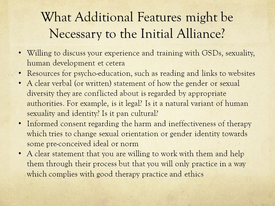 What Additional Features might be Necessary to the Initial Alliance.