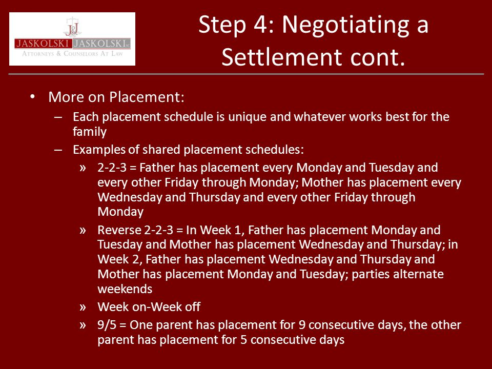 Step 4: Negotiating a Settlement cont.