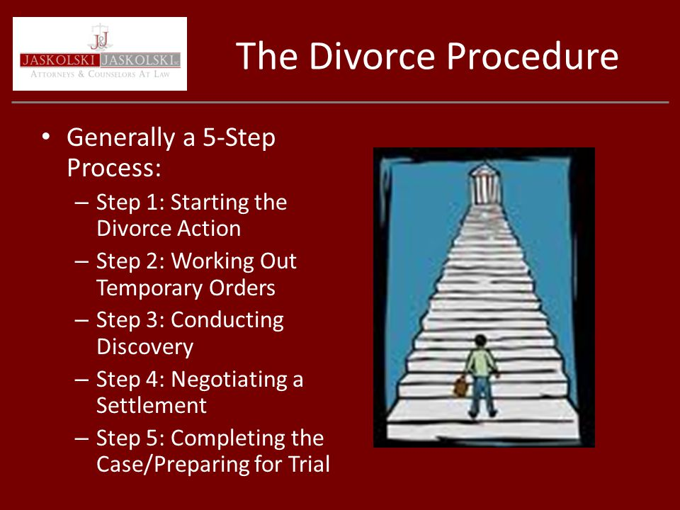 The Divorce Procedure Generally a 5-Step Process: – Step 1: Starting the Divorce Action – Step 2: Working Out Temporary Orders – Step 3: Conducting Discovery – Step 4: Negotiating a Settlement – Step 5: Completing the Case/Preparing for Trial