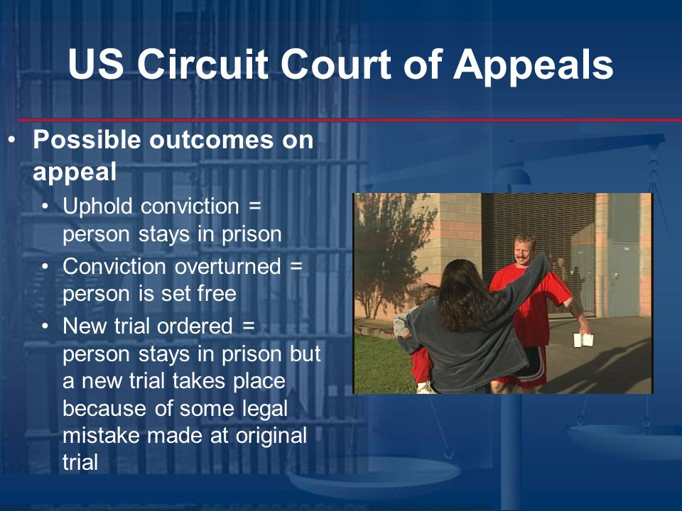 US Circuit Court of Appeals Possible outcomes on appeal Uphold conviction = person stays in prison Conviction overturned = person is set free New trial ordered = person stays in prison but a new trial takes place because of some legal mistake made at original trial