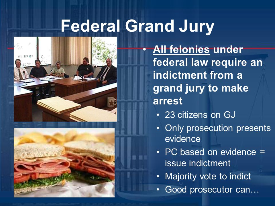 Federal Grand Jury All felonies under federal law require an indictment from a grand jury to make arrest 23 citizens on GJ Only prosecution presents evidence PC based on evidence = issue indictment Majority vote to indict Good prosecutor can…