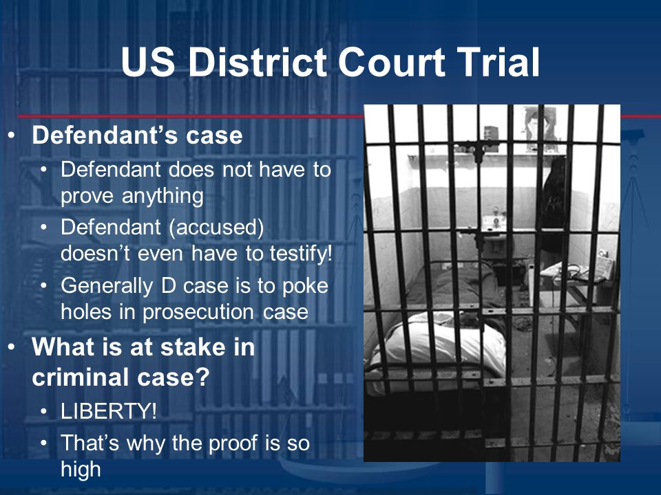 US District Court Trial Jury deliberations All twelve jurors talk about case Must be unanimous decision Standard of proof Criminal = Beyond a Reasonable Doubt (99%) Civil = preponderance of the evidence (51%)
