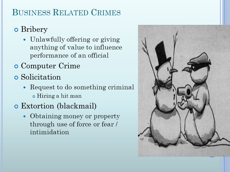 B USINESS R ELATED C RIMES Bribery Unlawfully offering or giving anything of value to influence performance of an official Computer Crime Solicitation Request to do something criminal Hiring a hit man Extortion (blackmail) Obtaining money or property through use of force or fear / intimidation