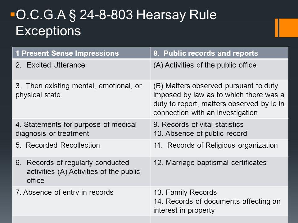  O.C.G.A § 24-8-803 Hearsay Rule Exceptions 1 Present Sense Impressions8.