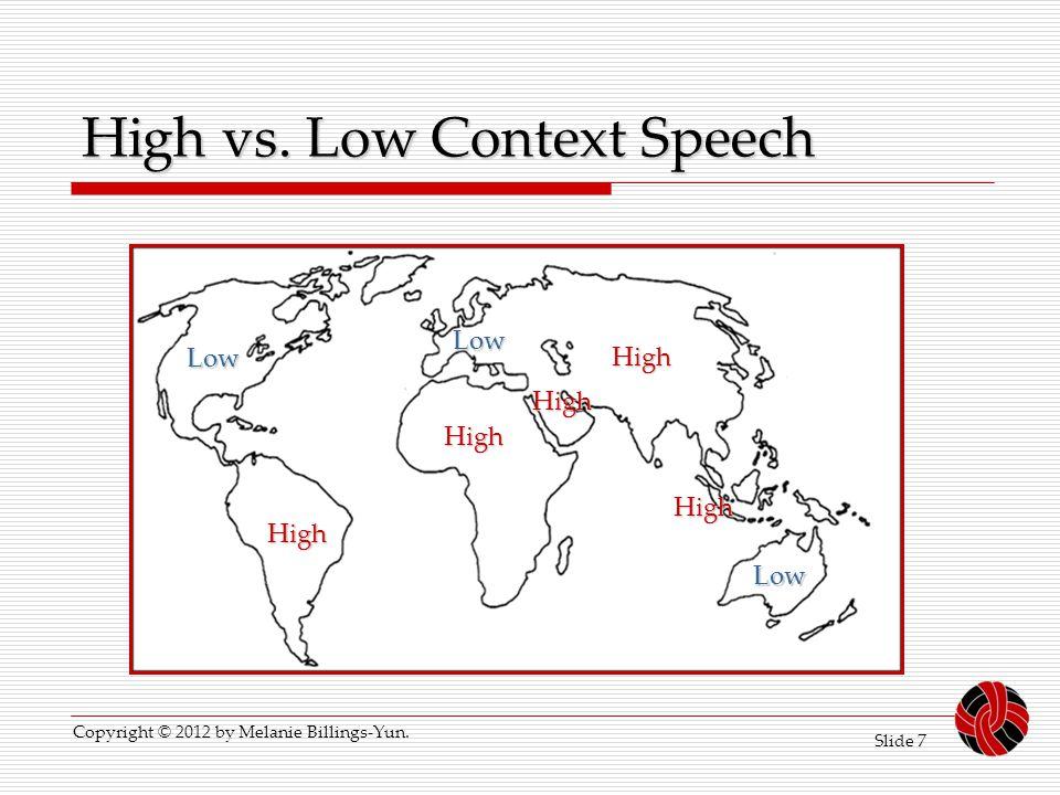 Slide 7 High vs. Low Context Speech Low High High Low High Low High High Copyright © 2012 by Melanie Billings-Yun.