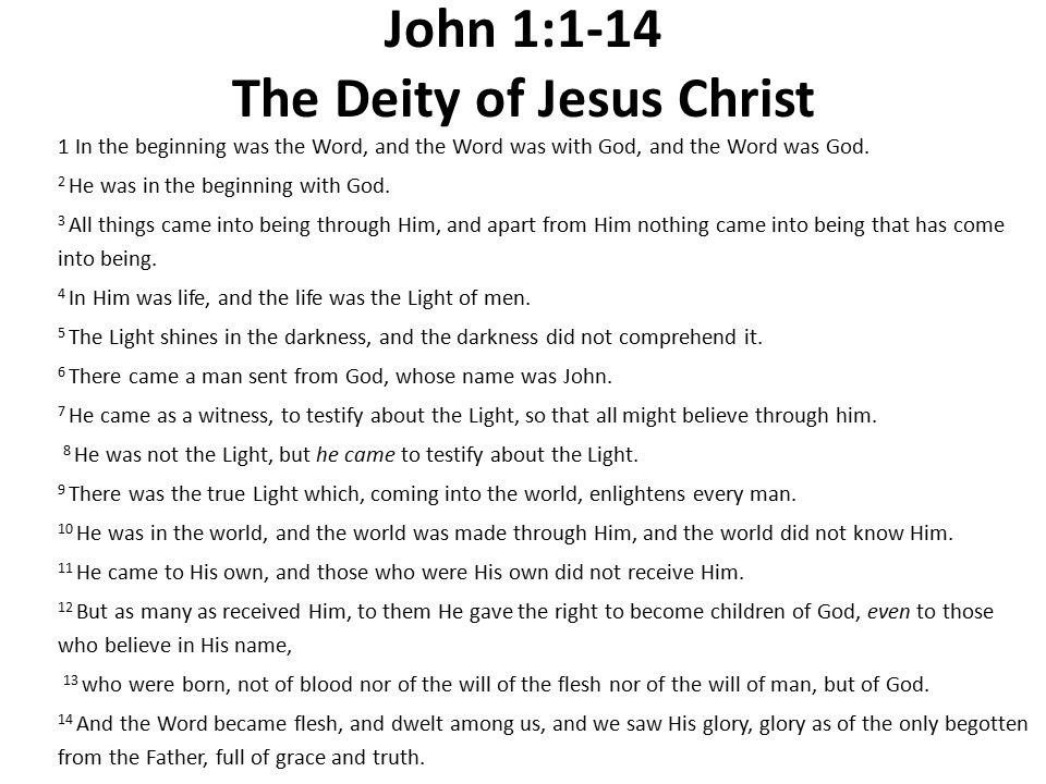 John 1:1-14 The Deity of Jesus Christ 1 In the beginning was the Word, and the Word was with God, and the Word was God.