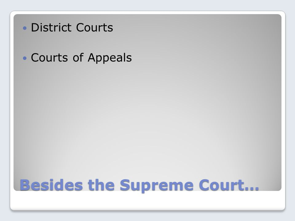 Besides the Supreme Court… District Courts Courts of Appeals