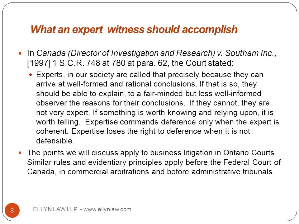 Title ELLYN LAW LLP - www.ellynlaw.com 3 In Canada (Director of Investigation and Research) v. Southam Inc., [1997] 1 S.C.R. 748 at 780 at para. 62, t
