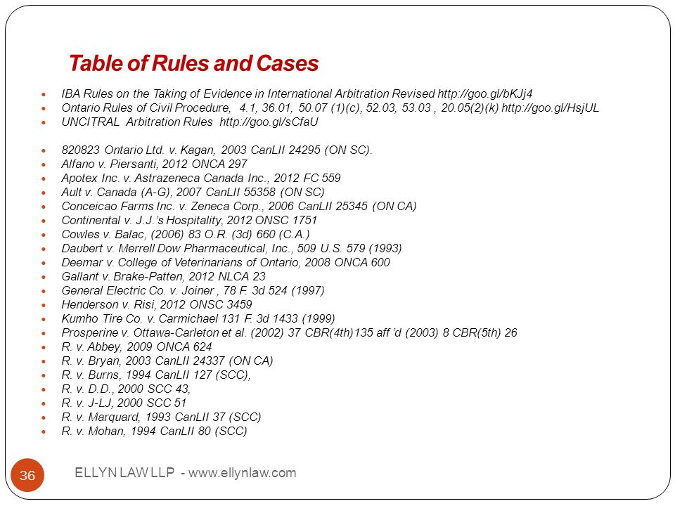 Title ELLYN LAW LLP - www.ellynlaw.com 36 IBA Rules on the Taking of Evidence in International Arbitration Revised http://goo.gl/bKJj4 Ontario Rules o