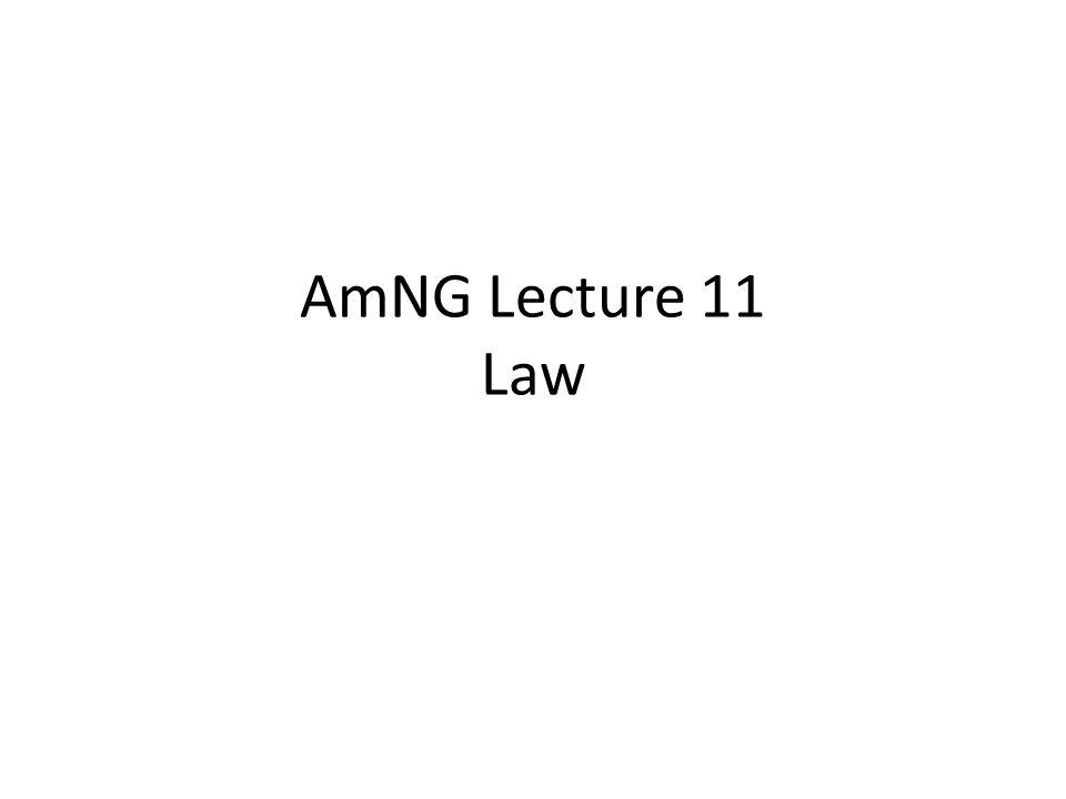 AmNG Lecture 11 Law