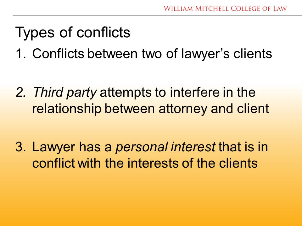 Types of conflicts 1.Conflicts between two of lawyer's clients 2.Third party attempts to interfere in the relationship between attorney and client 3.Lawyer has a personal interest that is in conflict with the interests of the clients